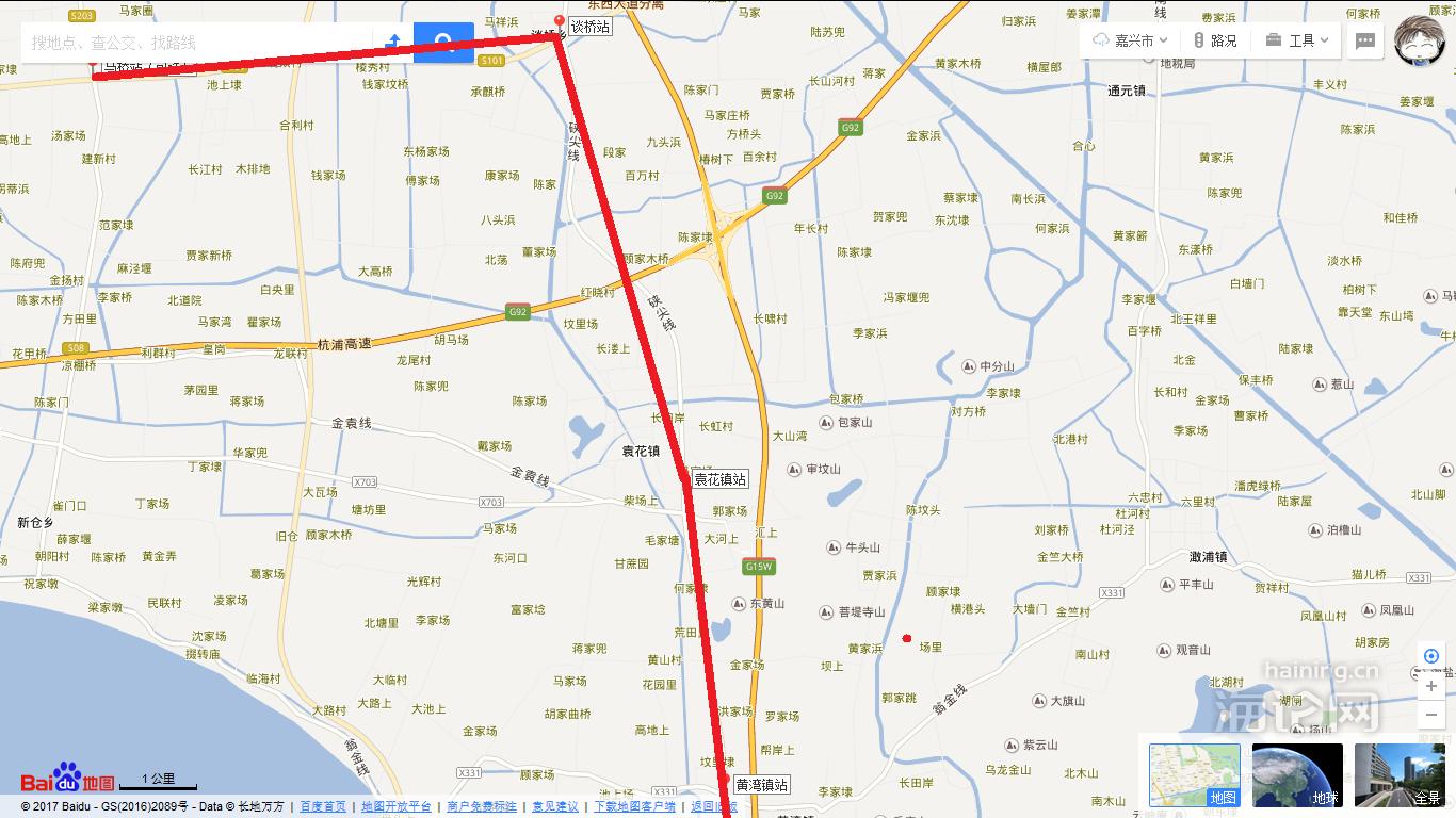 海宁黄湾手绘地图